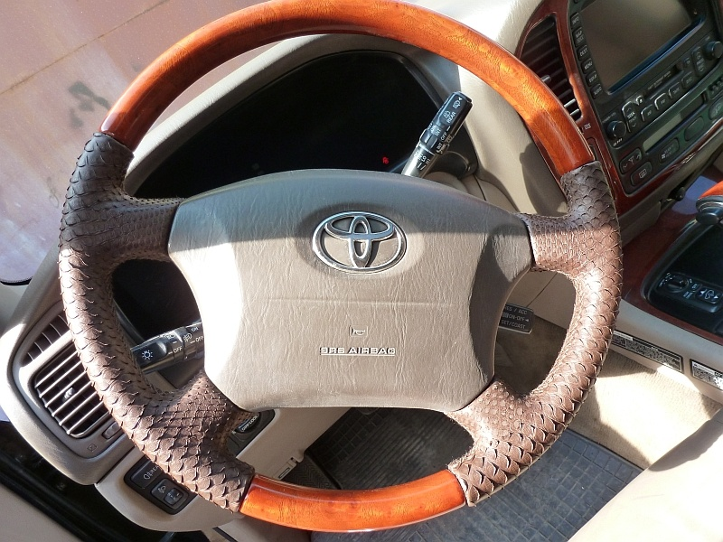 перетяжка руля авто - коричневый цвет